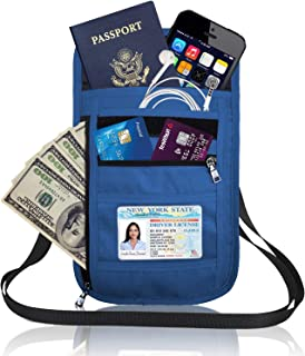 RFID Blocking Neck Wallet Passport Holder, Neck Pouch Travel Wallet Organiser, Travel Pouch for Men&Women