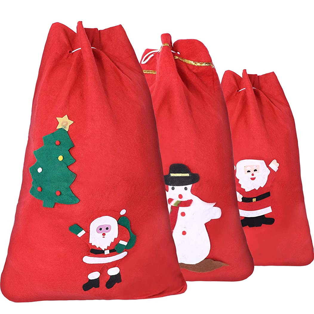 Boao 3 Pieces Non-woven Christmas Gift Bags Candy Bags Santa Claus Snowman Pine Tree Patterns Holiday Present Bags with Drawstring for Christmas, 3 Sizes