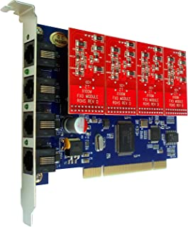 4 Port Analog FXO Card with 4 FXO Modules,Supports Issabel Asterisknow FreePBX PCI,for VoIP PBX Business Phone System