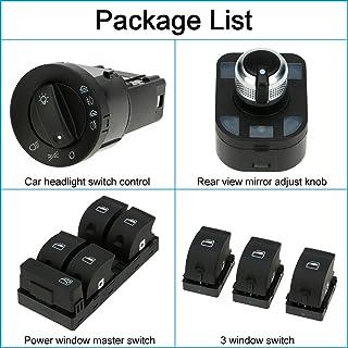 mewmewcat 6pcs OEM Controle do farol do carro Interruptor principal da janela de energia elétrica Espelho retrovisor e kit...