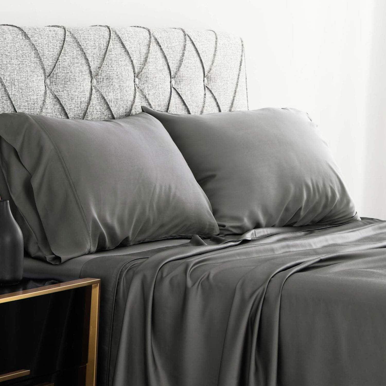 Bedsure Bamboo Bed Sheet Set Twin XL Size Grey 100% Bamboo Viscose Bed Linen in Gift Box