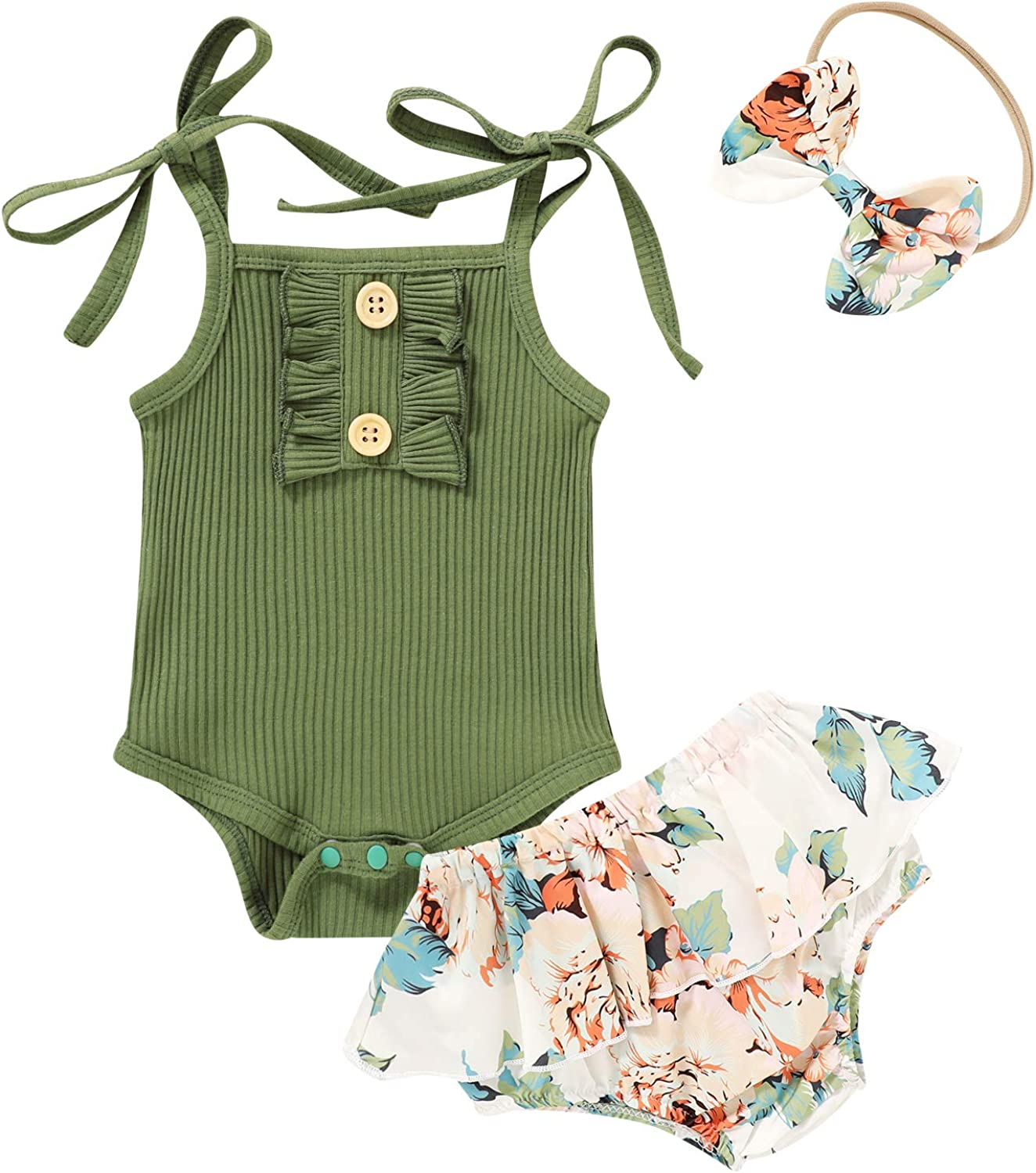 Newborn Baby Girls Summer Outfits Halter Rompers Top+ Ruffled Floral Shorts Dress Clothes Set