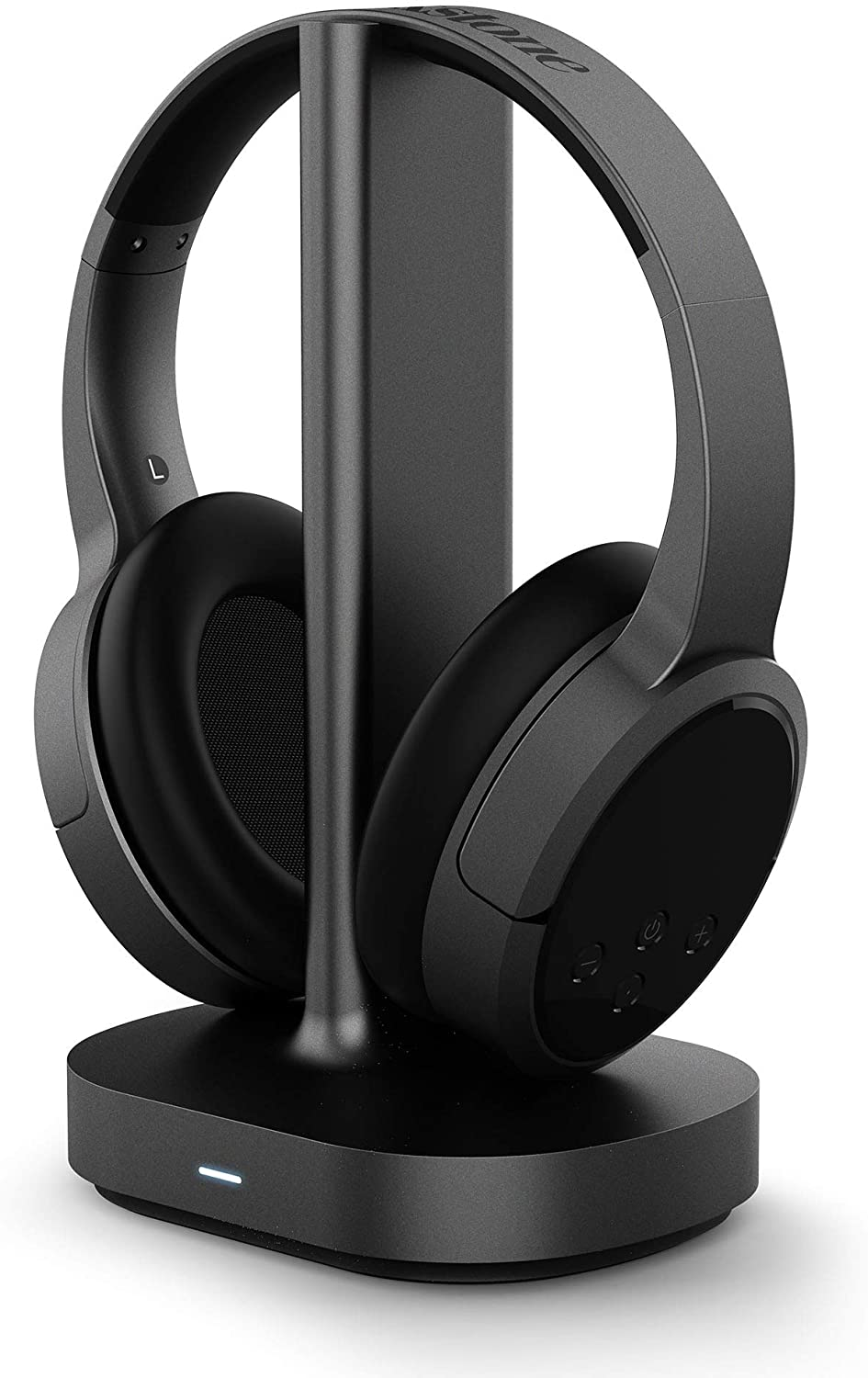 Amazon Com Brookstone Airphones Wireless Rf Tv Headphones With 2 4ghz Wireless Audio Charging Dock 100ft Wireless Range 10hrs Playtime Comfortable Ear Pads Black Support Optical 3 5mm Aux Rca Audio Out Electronics