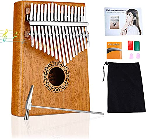 ELEPHANTBOAT Mahogany Mineral Steel Rods Portable Thumb Piano with Learning Book Tune Hammer Cloth Bag Sticker Bilingual Instruction Brown Tune Hammer Best Gifts for Women