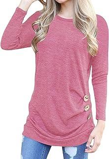 f97d482d Simaier Women Loose Casual T Shirt Plain Cotton Round Neck Girls Tops