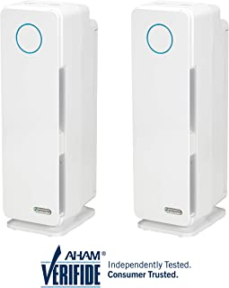 """Germ Guardian AC4300WPT 22"""" 3-in-1 True Hepa Filter Air Purifier for Home & Pets, Full Rooms, Uv-C Sanitizer, Filters Allergies, Smoke, Dust, Dander, Odor, White, 2 Pack"""