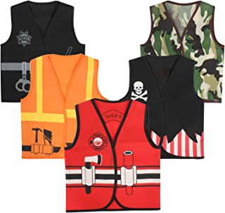 Toiijoy 5Pcs Boys Dress up Vest Set Police,Pirate,Fire Chief,Construction Worker,Soldier Costume Vest for Kids Ages 3-6 Years Black