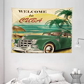 "Ambesonne Retro Tapestry, Nostalgic Welcome to Cuba Print with Classic Car Beach Ocean Palm Trees, Wide Wall Hanging for Bedroom Living Room Dorm, 80"" X 60"", Green Cream"
