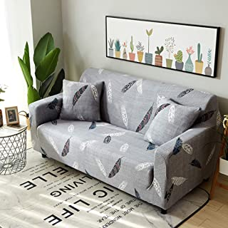 Ihoming Printed Stretch Sofa Slipcover Loveseat Slipcover Couch Slipcover with 2 Free Pillow Covers, 2/3/4/ Seat Sofa Covers(Sofa-4seat, Feather)