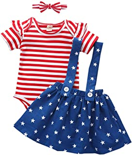 4th of July Outfits Newborn Baby Girl Ruffle Romper Top and Suspender Skirt Dress Headband Independence Day Clothes