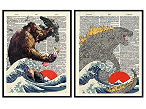 King Kong, Godzilla Poster Set - Great Wave - Horror Movie Merchandise - Scary Movie Gifts for Vintage Hollywood Monster Movie Fans - 8x10 Art Print, Wall Decor for Boys Room, Teen Bedroom