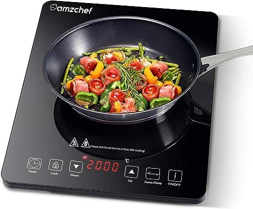 Plaque Induction Portable AMZCHEF, plaque de cuisson à induction de 2000 W avec corps mince, 10 niveaux de puissance,...