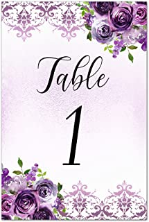 12 Table Cards Purple Damask Floral - Tables 1 to 12 - 5x7 inches