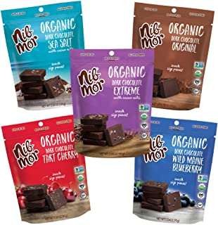 Nib Mor Organic Dark Chocolate Snacking Bites with 72-80% Cacao - Variety, 3.55 Ounce (Pack of 5)