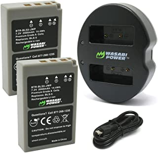 Wasabi Power Battery (2 - Pack)とデュアルUSB充電器for Olympus BLS - 5、bls-50、ps-bls5