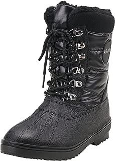 Women's Mid-Calf Lace Up Nylon Fabric Snow Boots E7625