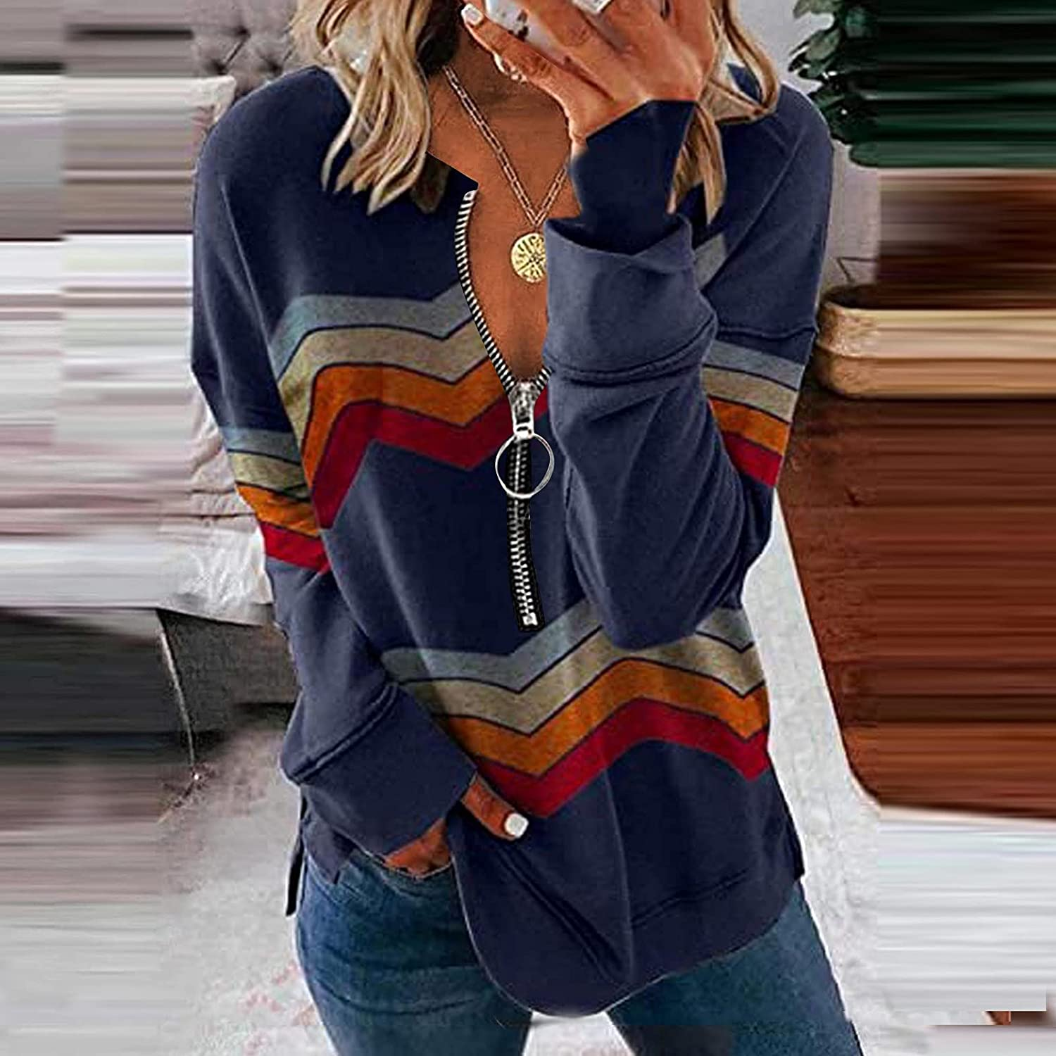 Meichang Women's Long Sleeve Tops Lapel Zipper T Shirts Casual Color Block Pullover Loose Splicing Tees
