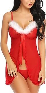 ADOME Women Christmas Lingerie Red Santa Babydoll Chemises Outfit Lace Sleepwear S-XXXL