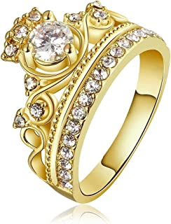 Rings for Women She Crown CZ Inlaid Anniversary Wedding Promissing Rings