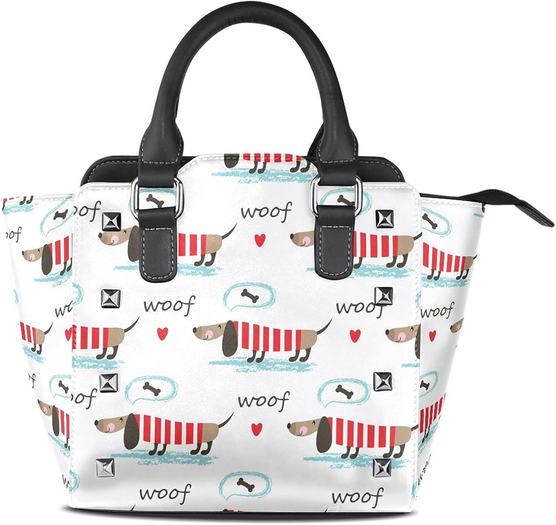 My Little Nest Women's Top Handle Satchel Handbag Dogs Ladies PU Leather Shoulder Bag Crossbody Bag