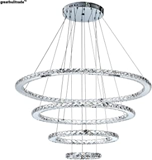 Modern Minimalist led Crystal Chandelier Round Living Room Bedroom Chandelier Duplex Building Lobby Chandelier 4 Rings (St...