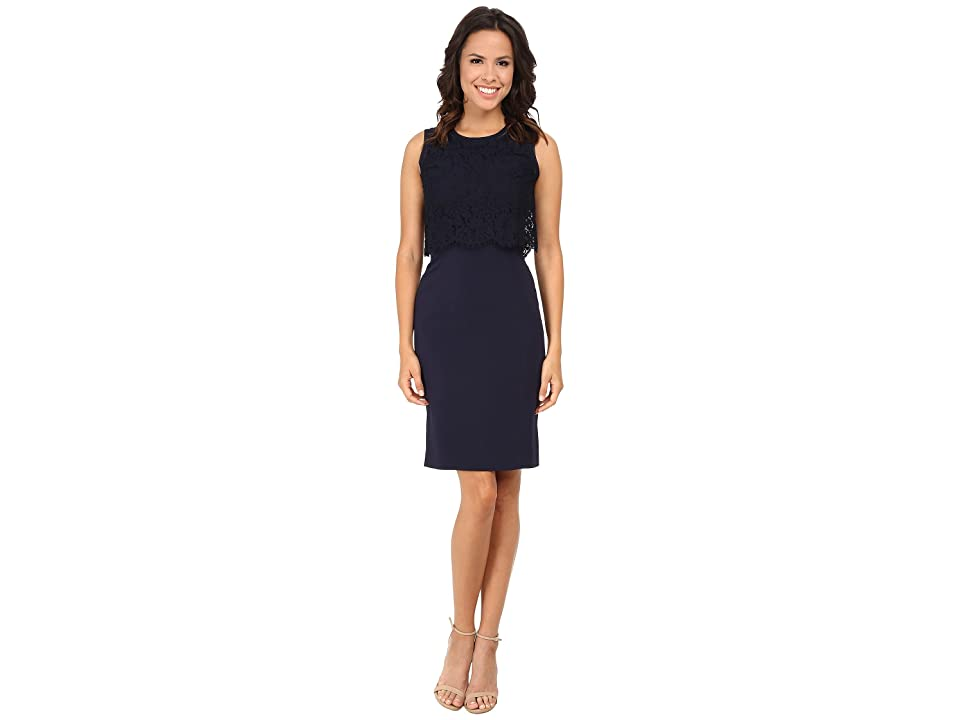 Rebecca Taylor Sleeveless Suiting Dress with Lace (Navy) Women