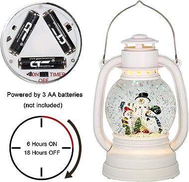 Eldnacele Christmas Snow Globe Lantern Spinning Water Glittering Snowman Scene with 6 Hours Timer, Lighted Water Globe Lanter