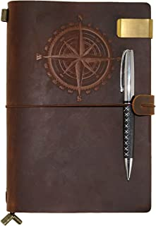 Leather Notebook Classic Compass Travelers Notebook Journal Refillable, Gift for Men & Women A5 Vintage Genuine Leather Notebook For Writing, Perfect to write in,Travel Diary With Ballpoint Pen