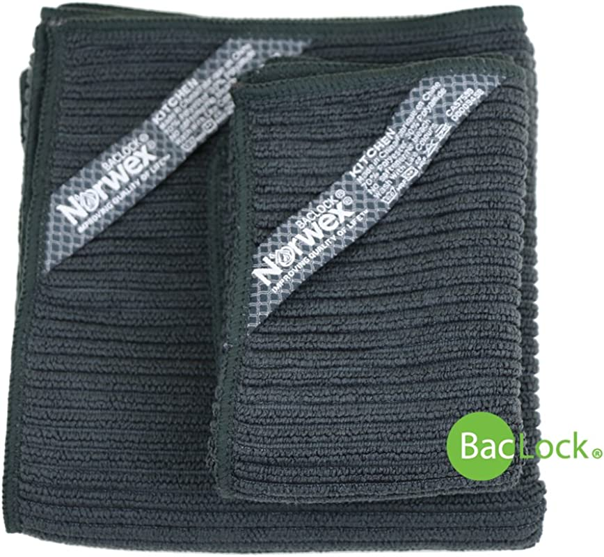 Norwex Antibacterial Antimicrobial Microfiber Kitchen Cloth Kitchen Towel Set With BacLock In Charcoal