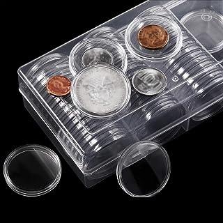 RUIXI 40 Mm Silver Eagles Coin Capsules Coin Case Porte-Monnaie Conteneur De Stockage avec 60 Pièces Boîte De Rangement Or...