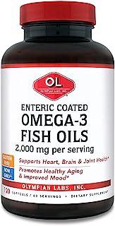 Olympian Labs Enteric Coated Omega 3 Fish Oils, 2000 mg per serving/ 60 servings, 120 Softgels