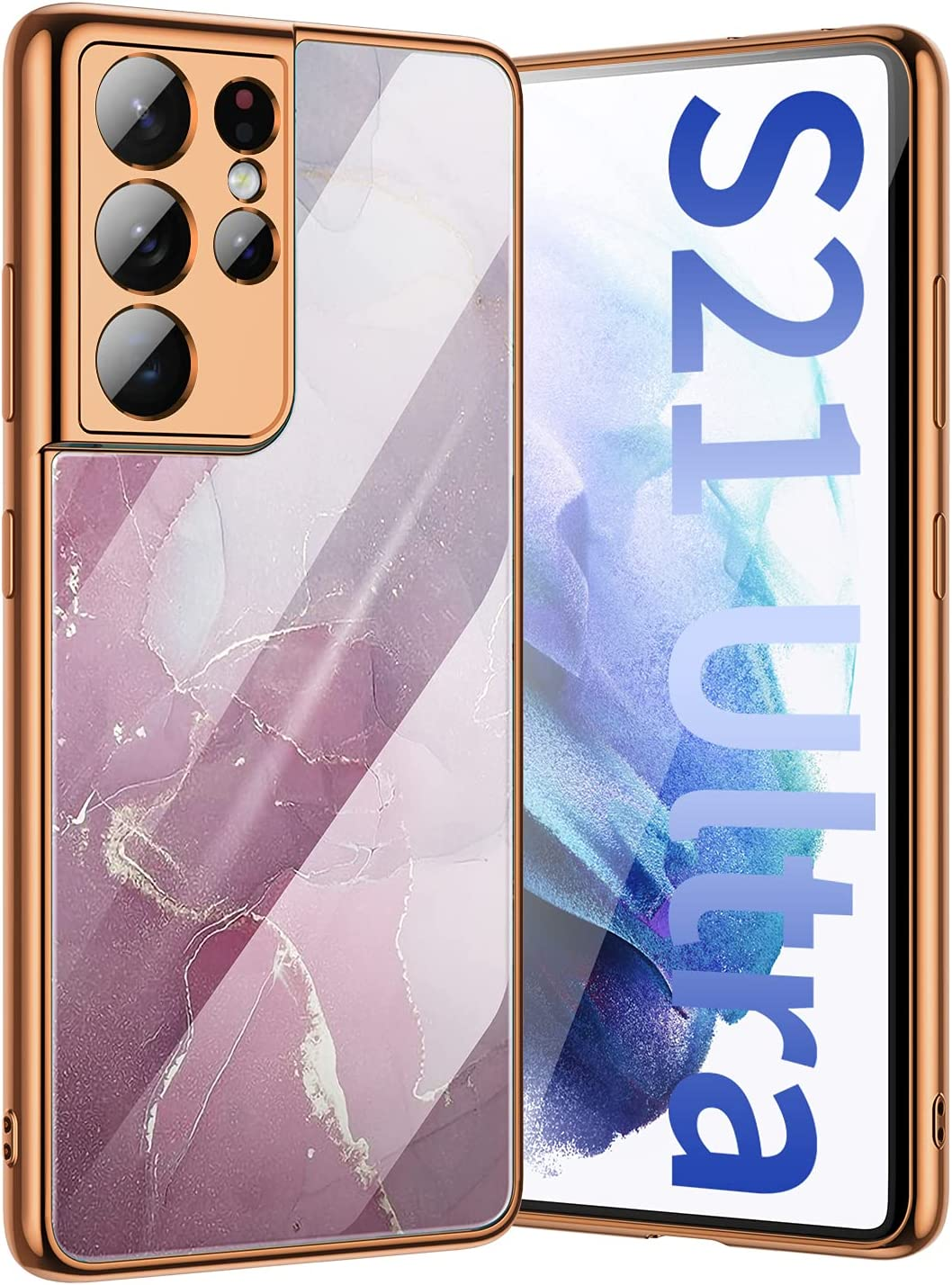 MIPCASE Samsung Galaxy S21 Ultra 5G Hard Glass Anti-Collision Glitter Marble Slim Protective Cover Phone Case 360 Degree Shockproof Cover TPU Strong Crash Cover for Samsung Galaxy S21 Ultra 6.8''