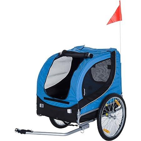 HOMCOM PawHut Remolque Bicicleta Perros Mascota 1 Bandera 6 Reflectores Remolque Bici Azul Negro