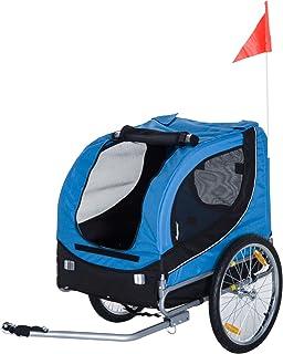 comprar comparacion HOMCOM PawHut Remolque Bicicleta Perros Mascota 1 Bandera 6 Reflectores Remolque Bici Azul Negro