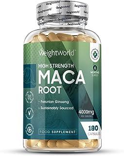 Maca Andina Cápsulas Pura Concentrada Vegana 4000 mg 180 Cápsulas - Estimulante Energético Hombre y Mujer. Aumenta Testosterona. Rendimiento. Concentración y Energía. Potenciador Masa Muscular