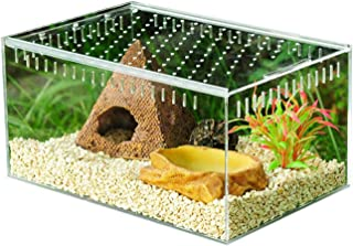 Biback Clear Reptile Breeding Box,Small Acrylic Terrarium Full View Visually with Sliding Design Feeding Box for Insect Re...