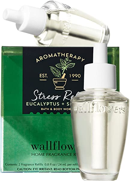 Bath And Body Works New Look Aromatherapy Stress Relief Eucalyptus Spearmint Wallflowers 2 Pack Refills