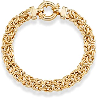 Miabella 18K Gold Over Sterling Silver Italian 9mm Classic Byzantine Link Chain Bracelet for Women, 7, 7.25, 7.5, 8 Inch 925 Handmade in Italy