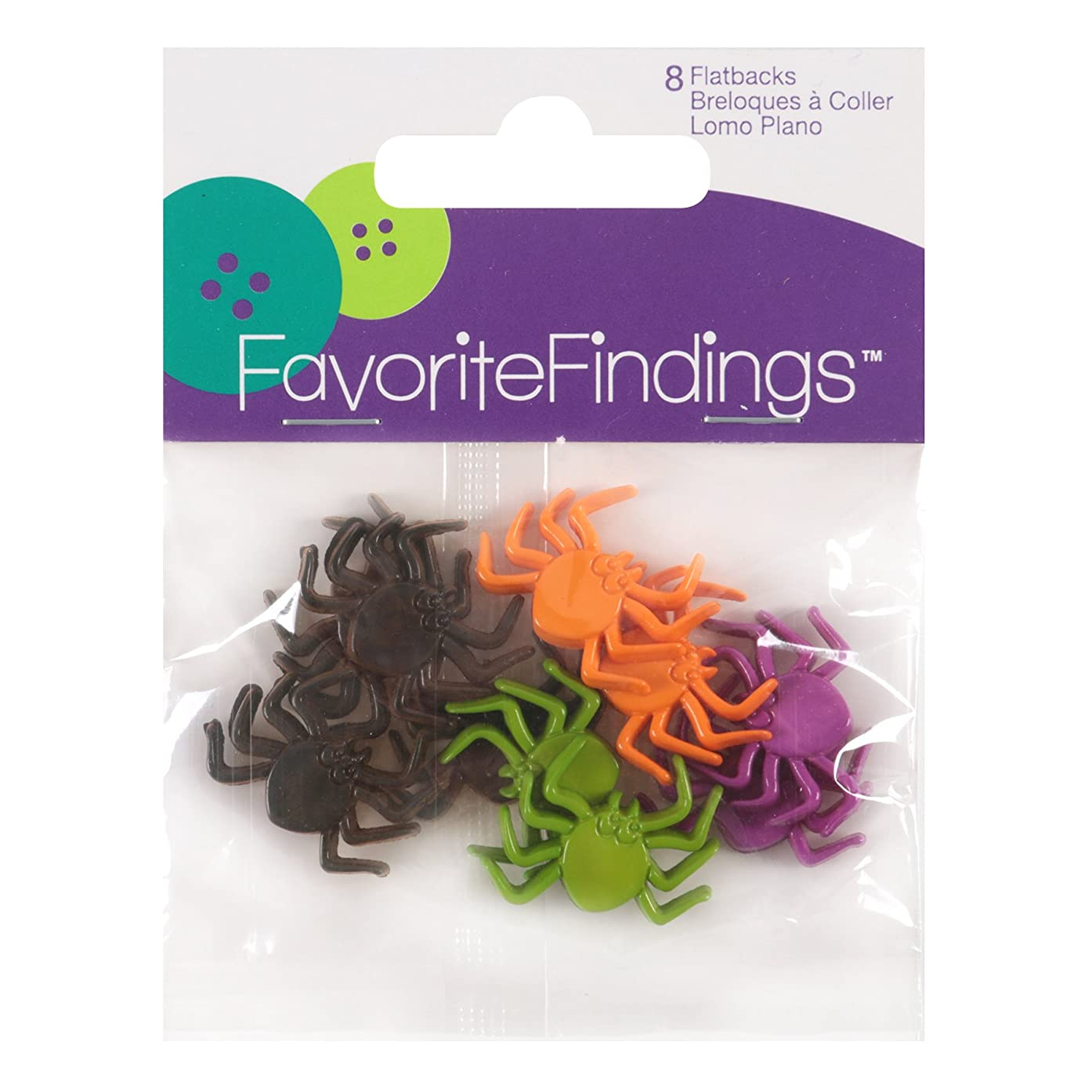 Blumenthal Lansing Buttons, Spider Shaped, For Sewing or Halloween Craft Projects, All One Shape and Size - Black, Purple, Orange, Green