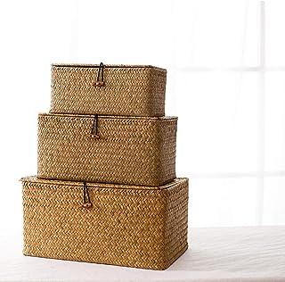 Paniers de Rangement Jonc de Mer avec,Accueil Boîte de rangement en paille Boîte de rangement tissée de bureau-jaune_Médium