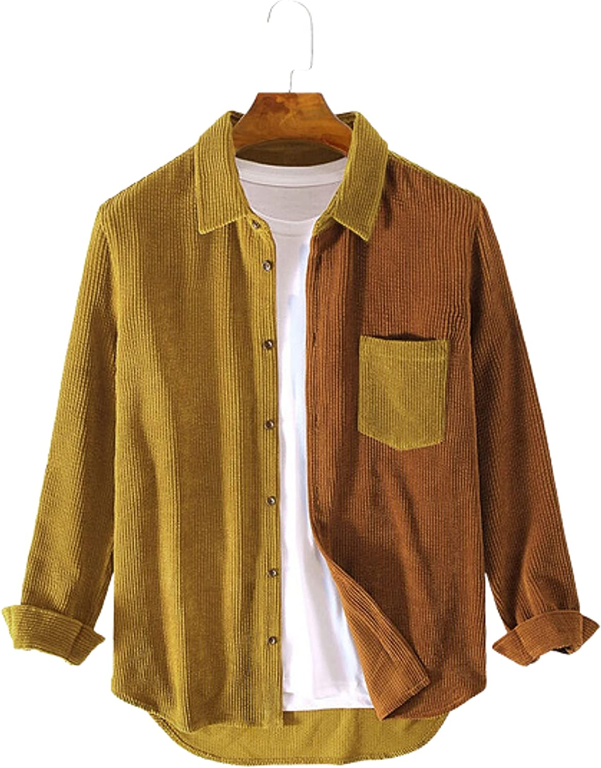 Gihuo Men's Corduroy Shirts Patchwork Contrast Color Button Down Shirts Tops