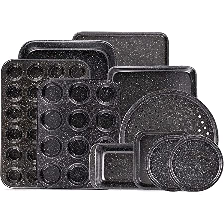 Fit Choice 10-Piece Nonstick Baking Set With Baking Pan, Cookie Sheet Set, Cake Pan, Muffin Pan, and Pizza Pan, 10-Piece Set Nonstick Bakeware Sets (Ceramic Coated Black)