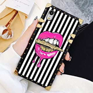 Square Case Compatible iPhone XR Pink Lips in Bullet Luxury Elegant Soft TPU Shockproof Protective Metal Decoration Corner Back Cover Case iPhone XR Case 6.1 Inch