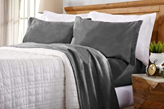 Home Fashion Designs Maya Collection Super Soft Extra Plush Fleece Sheet Set. Cozy, Warm, Durable, Smooth, Breathable Winter Sheets in Solid Colors (Full, Charcoal)