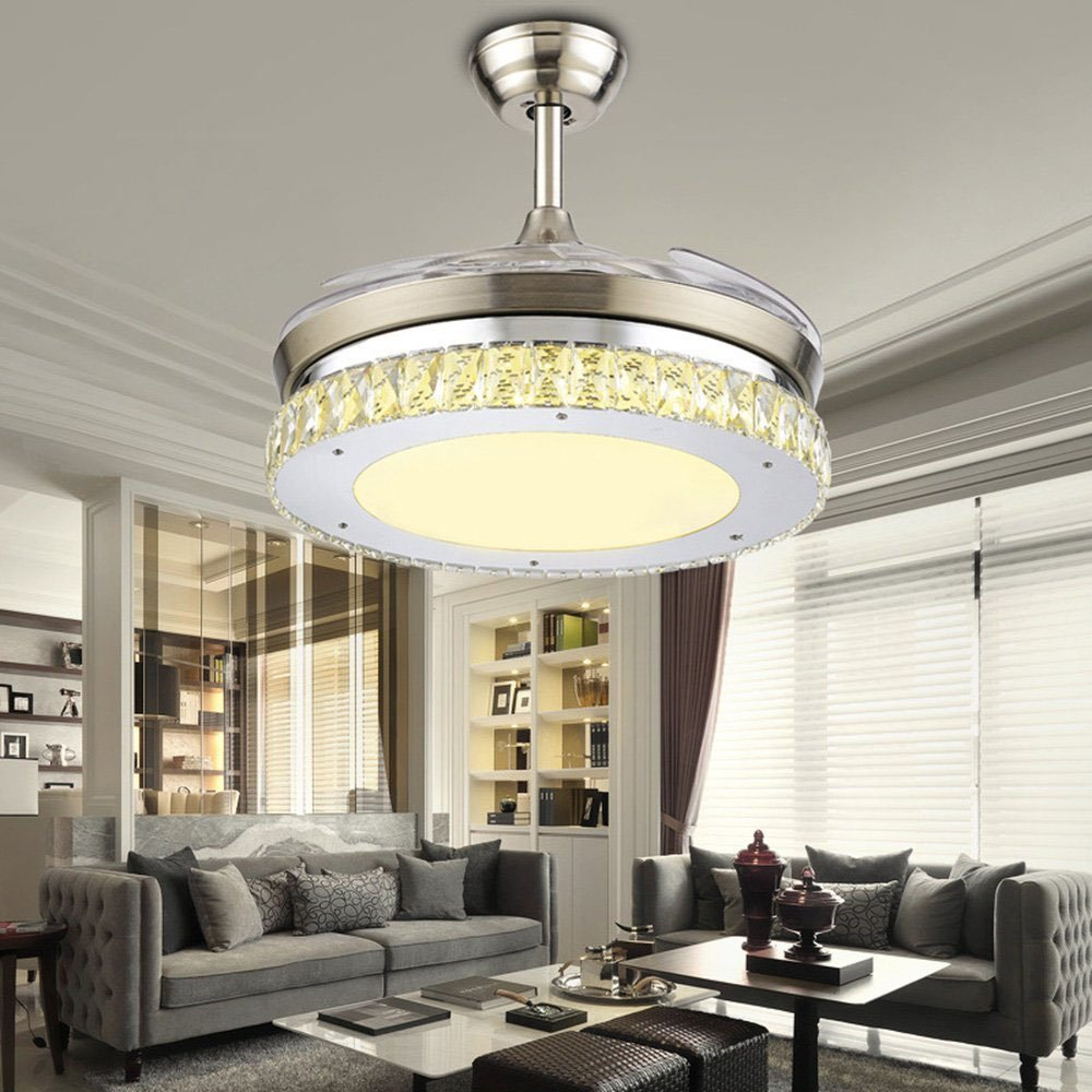 Huston Ventilador 42 cm ventilador de techo con luz LED moderna ...
