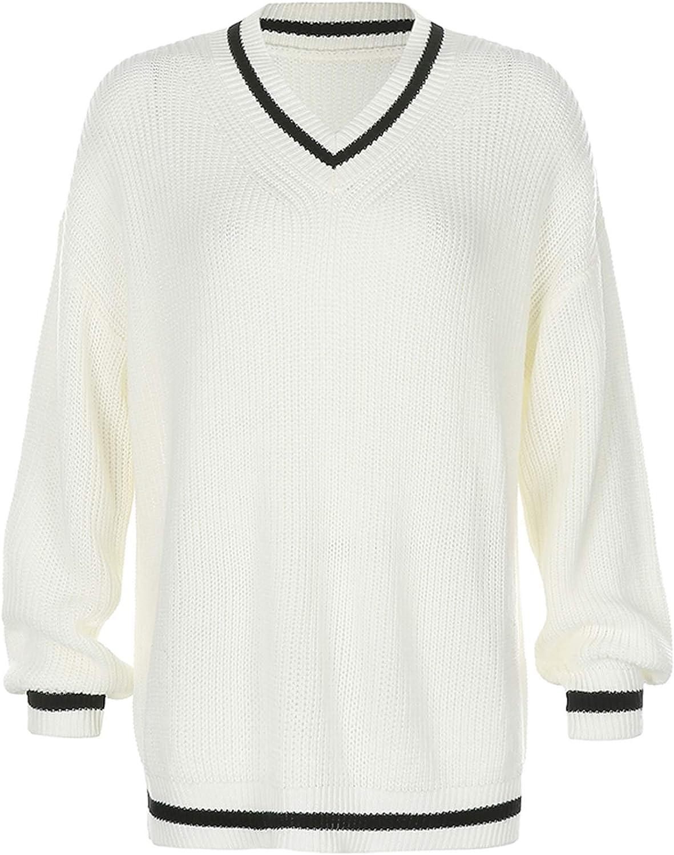 Women Argyle Y2k Sweaters Preppy Knit Sweater Tops Color Block Pullover Sweater E-Girl Streetwear Outwear
