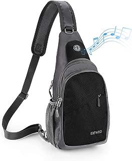 Elfhao Sling Bag Outdoor Waterproof Shoulder Backpack Chest Crossbody Bag Bike Women Men Girls Boys Travel Daypack (Black)