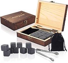 Aokyom Whiskysteine,Whiskey Ice Cubes (9 Stück) Holz Geschenkbox,Whisky Steine,Eiswürfel wiederverwendbar,aus Granit mit S...