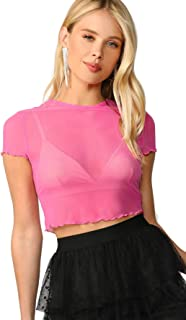 Best neon pink mesh crop top Reviews