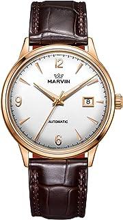 スイス製 Marvin 機械的ムーブメント ステンレスケース 凸レンズウォッチダイヤル ブラウンワニ紋革の時計バンド ヴィンテージウォッチ